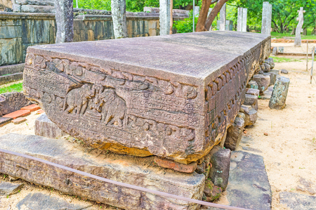 The Gal Potha is an ancient stone book preserved from times of King Nissanka Malla rule, Polonnaruwa, Sri Lanka.