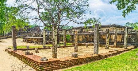 The preserved landmarks of Dalada Maluwa archaeological site, Polonnaruwa, Sri Lanka. Editorial