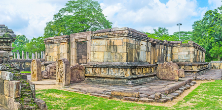 The Hetadage was built by King Nissanka Malla to house the Tooth Relic of Lord Buddha, Dalada Maluwa archaeological site, Polonnaruwa, Sri Lanka.