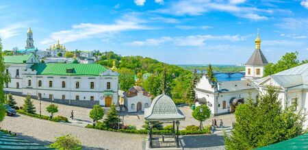 KIEV, UKRAINE - MAY 1, 2015: Panoramic view on courtyard of Kiev Pechersk Lavra with the main churches of the complex on the background, on May 1 in Kiev.