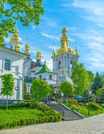 KIEV, UKRAINE - MAY 1, 2015: Kiev Pechersk Lavra is the holiest place in the city with a large number of medieval orthodox churches, on May 1 in Kiev. Editorial