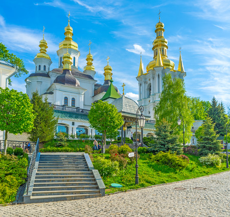 KIEV, UKRAINE - MAY 1, 2015: Lavra Monastery is the most significant orthodox medieval complex in Kiev, on May 1 in Kiev. Stok Fotoğraf - 75772501