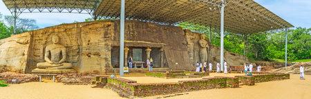 POLONNARUWA, SRI LANKA - NOVEMBER 27, 2016: Panorama of Gal Viharaya with the relief granite statues of Lord Buddha, on November 27 in Polonnaruwa. Editorial