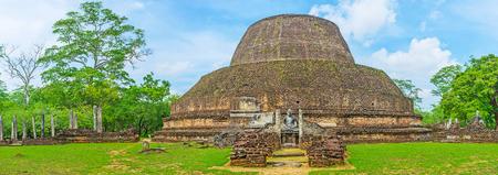 Panorama of the brick stupa of Pabulu Vihara complex, located among the green gardens of Polonnaruwa, Sri Lanka.