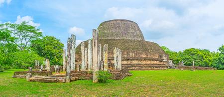 The ancient pillars of the vatadage of Pabulu Vihara complex, Polonnaruwa, Sri Lanka.