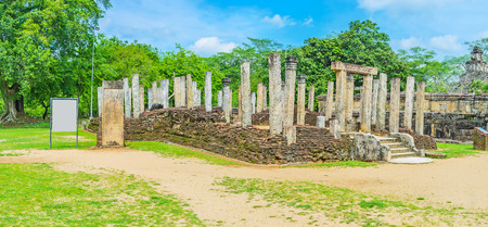 polonnaruwa: The ruins of the Atadage in Dalada Maluwa archaeological site, Polonnaruwa, Sri Lanka.