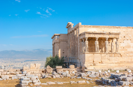 Erechtheion is an ancient temple dedicated to Athena and Poseidon and located on Acropolis Rock in Athens, Greece.