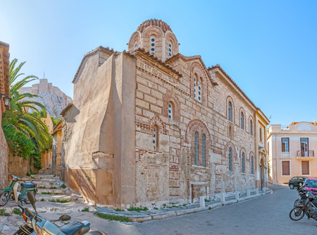 Old medieval byzantine style Church of St. Nicholas Rangavas located in maze of streets in Plaka neighborhood, Athens, Greece Stock Photo