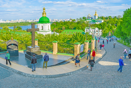 KIEV, UKRAINE - MAY 1, 2016: Kiev Pechersk Lavra is a very big monastery with its own streets and descents, always full of pilgrims and tourists, on May 1, in Kiev