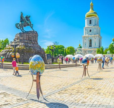KIEV, UKRAINE - APRIL 29, 2016: Easter installation on Sofiyvska Square during Easter Holidays, on April 29, in Kiev