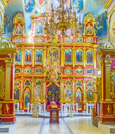 KIEV, UKRAINE - MAY 1, 2016: Beautiful golden iconostasis in Vvedensky church of Kiev Pechersk Lavra, on May 1, in Kiev