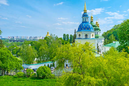 Vydubychi Monastery located on the slope of hill with great panoramic view  on Kiev, Ukraine Reklamní fotografie