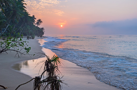 The foggy sunrise over the paradisiacal beach at the Indian Ocean, Hikkaduwa, Sri Lanka.