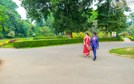 KANDY, SRI LANKA - NOVEMBER 28, 2016: Royal Botanical Garden is the best place for wedding celebration, on November 28 in Kandy.