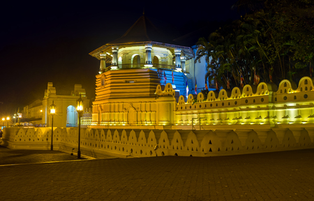 View on Temple of Sacred Relic Tooth in Kandy in the night illumination, Sri Lanka Stock Photo