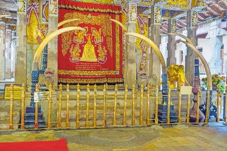resides: KANDY, SRI LANKA - NOVEMBER 28, 2016: Handun kunama is the main shrine of the complex and the resides of sacred tooth, on November 28 in Kandy.