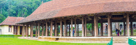 The view on huge outdoor covered Audience Hall, located on the territory of Temple of Sacred tooth in Kandy, Sri Lanka