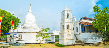 vihara: Panorama of Buddhist Complex of Kumarakanda Rajamaha Vihara with medieval buildings of Stupa, bell tower and Image House, Hikkaduwa, Sri Lanka.