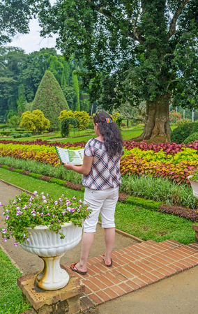 french way: KANDY, SRI LANKA - NOVEMBER 28, 2016: The girl with a map of Peradeniya Royal Botanical Garden among the bright flowers and plants of the Flower Garden department, on November 28 in Kandy.