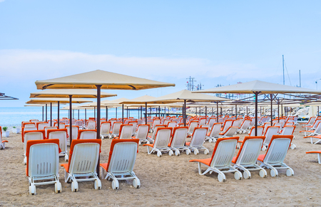 The best way to relax on the Moonlight beach in Kemer is to visit the local cafe and swim in the sea, Turkey.