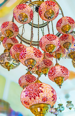 plafond: KEMER, TURKEY - MAY 5, 2017: The chandelier of arabian lights with plafond of stained glass with colorful patterns, on May 5 in Kemer.