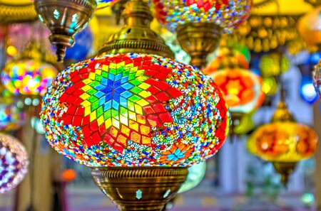 KEMER, TURKEY - MAY 5, 2017: The Turkish lighting stores offers vide range of handmade arabian lights, decorated with scenic patterns, on May 5 in Kemer.