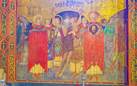 LVOV, UKRAINE - MAY 16, 2017: The fresco in Armenian Cathedral depicts the Beheading of St John the Baptist and was created by Jan Henryk Rosen, on May 16 in Lvov.