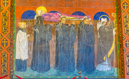 LVOV, UKRAINE - MAY 16, 2017: The fresco in Armenian Cathedral depicts the Burial of St Odilon and was created by Jan Henryk Rosen, on May 16 in Lvov. Editorial