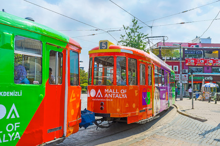 ANTALYA, TURKEY - MAY 6, 2017: To ride the old tram is the perfect choice to discover the city, on May 6 in Antalya.