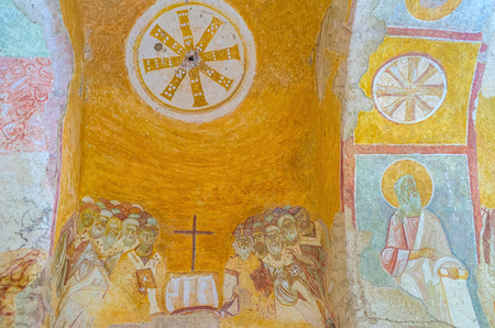 archaeological: DEMRE, TURKEY - MAY 7, 2017: The beautiful preserved medieval frescoes are the proud of St Nicholas Church, on May 7, in Demre.