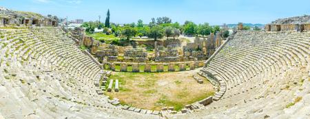archaeological: Panorama of ancient greek amphitheater in Myra, Turkey. Stock Photo