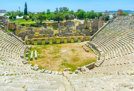 ganado: The vie won the stage of lycian amphitheater from its seats, Myra, Turkey