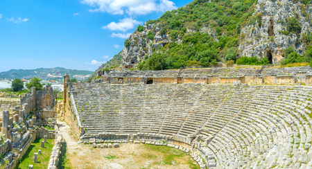 Myra complex boasts well preserved lycian amphitheater and beautiful tomb necropolis, Turkey Stock Photo