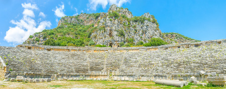 theatre masks: Panoramic view on lycian amphitheater of Myra, Turkey