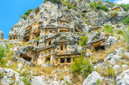 Burial tombs in Myra are the only remainings of disappeared lycian civilization, Turkey