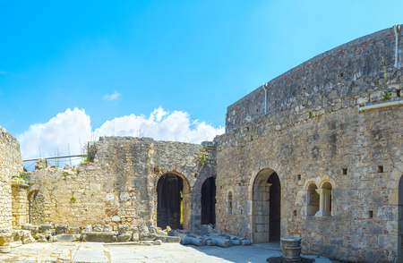 archaeological: The view on ruined courtyard of St Nicholas Church in Myra, Turkey