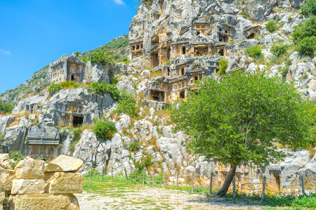 archaeological: Tombs in Myra are one of the most unusual burial places in Europe, Turkey.