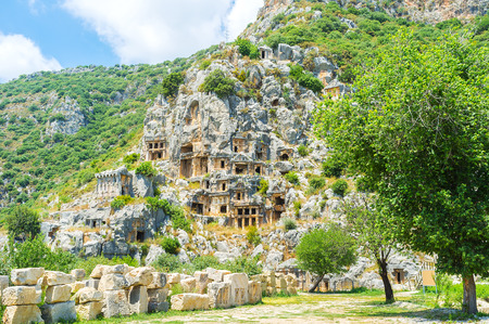 archaeological: The main landmark of Myra is tomb complex, dominating the landscape of archaeological site, Turkey