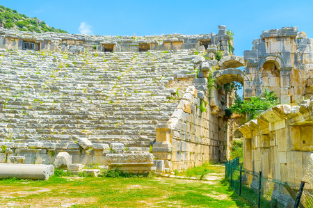 archaeological: Amphitheater in Myra is the biggest and best preserved lycian theatres, Turkey Stock Photo