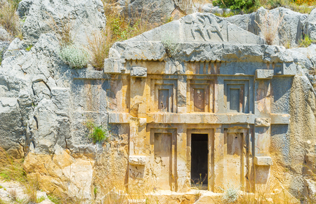 theatre masks: The ancient lycian carved tombs in Myra nowadays become a very popular landmark of Turkey.