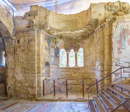 archaeological: DEMRE, TURKEY - MAY 7, 2017: The walls of St Nicholas Church are covered with frescoes, somy of them are well preserved, on May 7, in Demre. Editorial