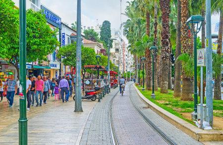 ANTALYA, TURKEY - MAY 6, 2017: Ataturk Avenue is one of the main city shopping areas, so its always crowded and noisy, on May 6 in Antalya.
