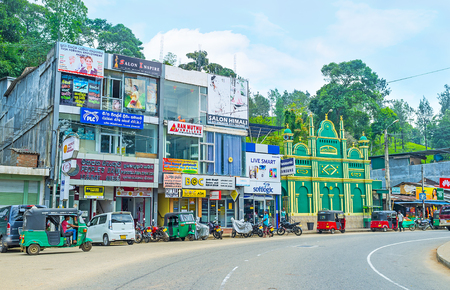 ceylon: PUSSELAWA, SRI LANKA - NOVEMBER 29, 2016: The urban street of the small town, hidden among the acres of tea plantations, on November 29 in Pusselawa. Editorial