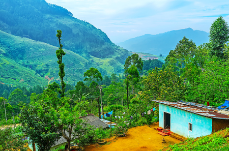 arando: The tiny farmers house among the greenery of garden in Sri Lankan Central Province, Pusselawa. Editorial