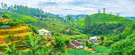 The picturesque mountain landscape with the plowed farm lands and slopes with tea bushes on background, Pusselawa, Sri Lanka. Stock Photo