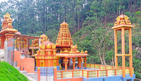 The famous Seetha Amman Temple, located in the narrow gorge, on the bank of Seetha river is famous among the worshipers and built in place, described in Hindu epic Ramayana, Nuwara Eliya, Sri Lanka. Stock Photo