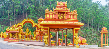 dome of hindu temple: Panorama of the Seetha Amman Temple, located in legendary place - its believed, that here Sita was held captive by king Ravana, Nuwara Eliya, Sri Lanka.