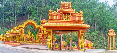 Panorama of the Seetha Amman Temple, located in legendary place - its believed, that here Sita was held captive by king Ravana, Nuwara Eliya, Sri Lanka.