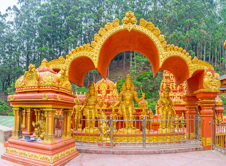 dome of hindu temple: The shrine with Rama, Sita and Lakshmi next to the Seetha Amman Hindu Temple, Nuwara Eliya, Sri Lanka. Stock Photo