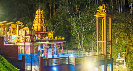 Evening panorama of Seetha Amman Temple with its towers and pillars, Nuwara Eliya, Sri Lanka.